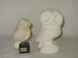 2 Vintage AOE Greek Owl of Alpha Theta Epsilon Figurine White Resin Plaster - $39.59