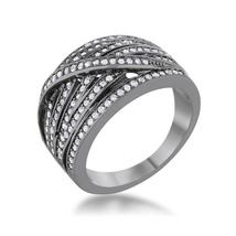 Shirah 0.75ct CZ Hematite Wide Statement Ring - $30.00