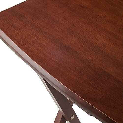 Oversize Snack Table Set Walnut Living Room Bed Couch TV Set Up Eating Portable