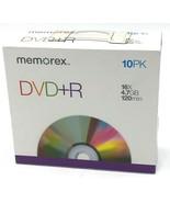 Memorex DVD+R 10 pk 16x 4.7 gb 120 min Slimline Cases Vieo Photo Data St... - $8.99
