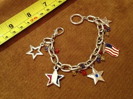 "7"" Silver Tone Charm Bracelet Patriotic Pendants Flag USA Red White Blue... - $9.42"