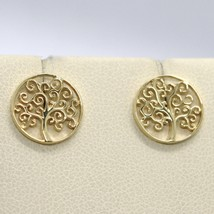 18K YELLOW GOLD EARRINGS WITH BEAUTIFUL WORKED TREE OF LIFE, MADE IN ITALY image 1