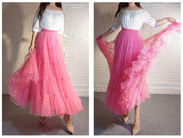 Women Tiered Long Skirt Outfit High Waisted Layered Yellow Tulle Skirt image 13