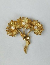 Vintage brooch pin flower bouquet gold tone mid century - $18.81