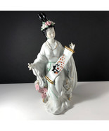 GEISHA PORCELAIN STATUE Asian sculpture figurine antique Japan gold scro... - $371.25