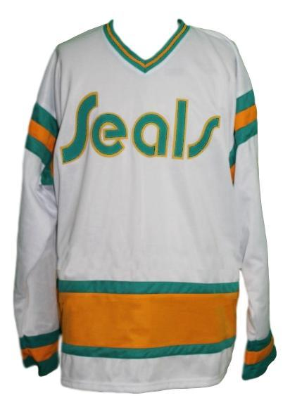 Meloche  27 california seals retro hockey jersey white   1