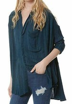 Free People Womens Blue Striped Oversized Cozy Button-Down Top - $108.99