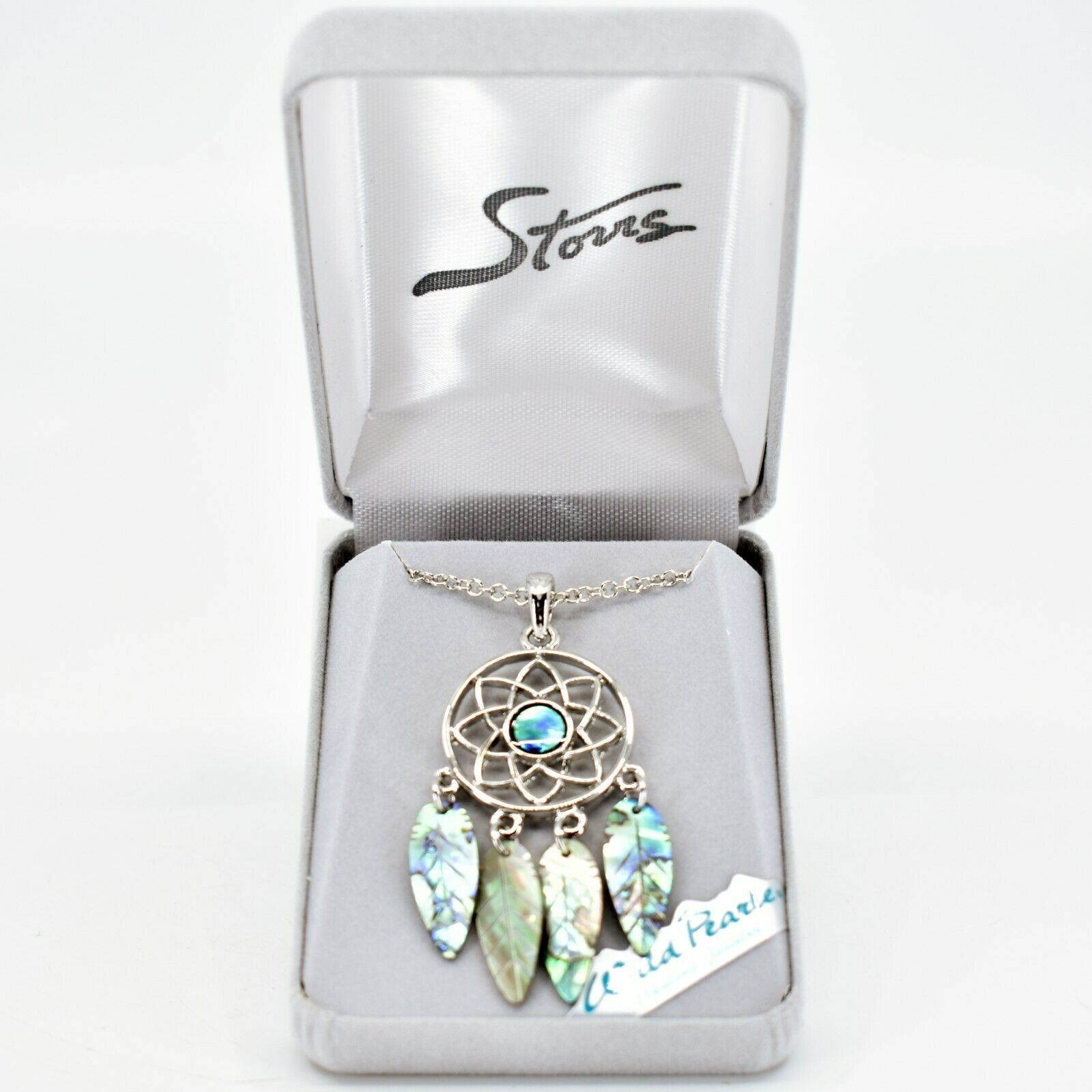 Storrs Wild Pearle Abalone Shell Feather Dreamcatcher Pendant & Necklace