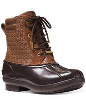 Michael Kors EASTON Dark Caramel MK Embossed Ankle Boots Bootie Shoes Mu... - $99.99