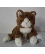 "Kellytoy Brown Cat Plush Soft Stuffed Toy Kitten 10"" White Floppy Flexible - $10.95"