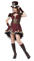 ADULT STEAMPUNK GIRL WOMEN BRASS EMO MOVIE GOTH HALLOWEEN COSTUME COSPLA... - $37.99+