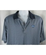Peter Millar US Open Men L Polo Shirt Large light dark blue stripes cott... - $19.79