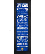"""Personalized Golden State Warriors """"Family Cheer"""" 24 x 8 Framed Print - $39.95"""
