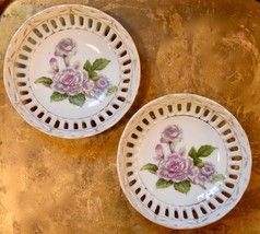 2 FLORAL Japan Porcelain Gold Trimmed Pierced Reticulated  Bowl WHITE RO... - $34.99
