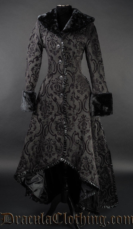 Women's Black Brocade Gothic Victorian Fall Winter Long Steampunk Coat
