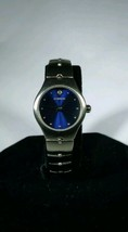 Lorus womens watch brushed silver band blue dial crystal above 12:00 - $13.99