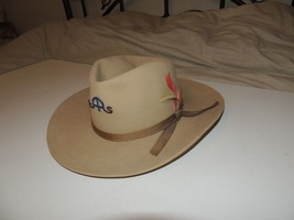 STETSON Saddle & Sirloin Cowboy Hat Woolf Brother VGUC w SAS Pin - $43.73
