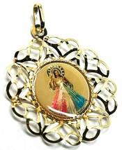PENDANT MEDAL, YELLOW GOLD 750 18K, FRAME FLOWER-SHAPED, Jesus MERCIFUL image 1