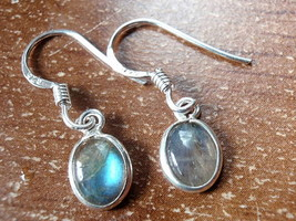 Small Labradorite Oval Ellipse 925 Sterling Silver Dangle Earrings New 760r - $11.87
