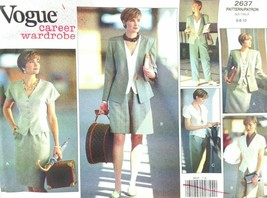 Vogue Sewing Pattern 2637 Career Wardrobe Jacket Top Skirt Shorts Pant 6... - $9.85