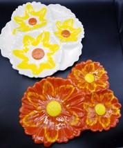 Santa Anita Ware Sunflower Serving Chip Dip Tray Set White Orange Yellow... - $29.00