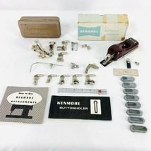 Vintage Greist Sewing Machine Accessories & Attachments Feet Ruffler Bin... - $37.97