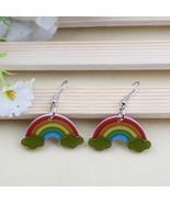 Rainbow cute lovely printing drop earrings acrylic new design spring/sum... - $9.18