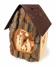 Black Forest Wooden Nativity Scene Lantern House Advent Tealight Candle ... - $24.71