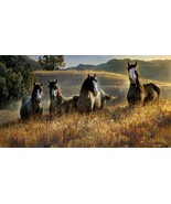 Amazing Grays III by Nancy Glazier Pinto Horses Print Artist Signed - $38.61