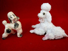 Poodle Dog Puppies Fun Figurines Vintage Lot of 2 Mid-Century Japan  - $25.95