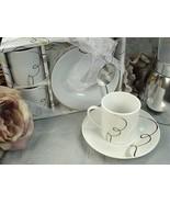 25 Porcelain Espresso Coffee Cup & Saucer Set Bridal Wedding Favor 4 Des... - $90.20