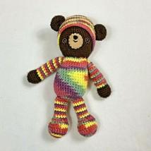 Handmade Crochet Striped Brown Teddy Bear Stuffed Animal Toy Knit Cap Ra... - $14.99