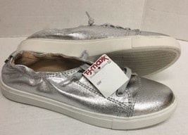 NEW STEVE MADDEN $70 Jane Silver Metallic Glittered Lace-Up Sneakers Sho... - $41.13