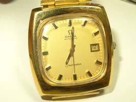 70s Omega Gold Plated 166.0138 1012 23J Automatic Date Watch Omega Link ... - $880.11