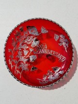 Vintage West Virginia Glass Weston Ruby Red 40th Anniversary Footed Bowl - $19.39