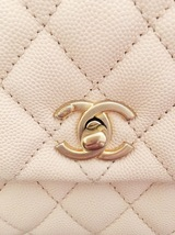 100% AUTHENTIC CHANEL 2017 CAVIAR QUILTED MINI COCO HANDLE FLAP BAG BEIGE GHW image 7