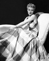 Ginger Rogers Large Plaid Sleeveless Dress On Couch 16X20 Canvas Giclee - $69.99