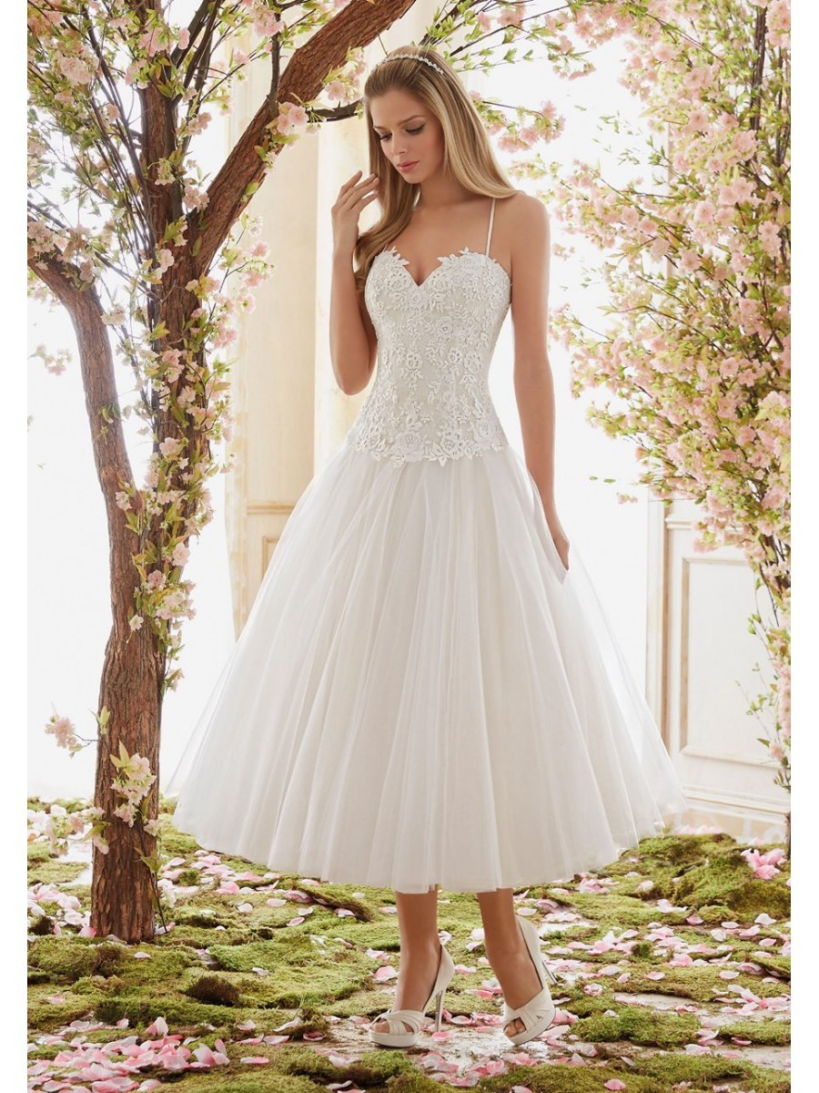 Cheap Lace Wedding Dress Tea Length Beach Sexy Bridal Gown Short 2019
