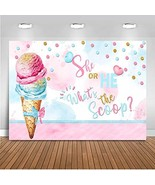 Mocsicka Ice Cream Gender Reveal Backdrop What's The Scoop Photography B... - $18.73
