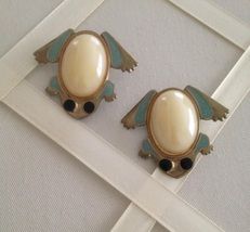 Vintage Metal Enamel Frog Opalescent Jelly Belly Fashion Clip On Earrings - $40.00