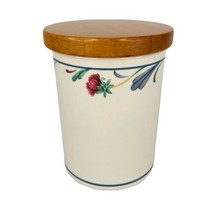"Lenox Poppies On Blue Small Canister Border 4 3/4"" With Wood Lid Utensil Holder - $19.65"