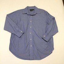 Lauren Ralph Lauren Non Iron Dress Shirt Mens 17 1/2 Blue Striped Cotton - $16.14