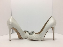 Badgley Mischka Desi White Satin Women's Platform High Heel Pumps 5.5 M - $95.93