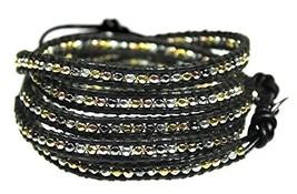 Beautiful Silvertone, Goldtone, Gray Nugget Bead Leather Wrap Bracelet, ... - $39.67