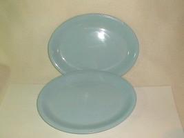 Mid Century homer laughlin skytone oval serving plates blue 1950's retaro - $28.00