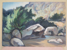 Antique Painting To oil On Board landscape Di Montagna IN Riva To Stream - $130.81