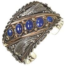 Navajo BIG BOY Sterling Silver 12KGF BLUE LAPIS Row Bracelet Mens Cuff s... - $699.00+