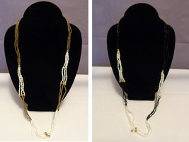"""Seed Bead Necklace Set Black n White or Gold n White  28"""" - $5.00"""