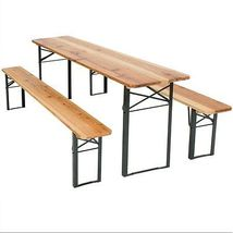 Folding Garden Dining Set Wooden Table 2 Benches Outdoor Patio Picnic Furniture image 5