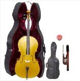 Lucky Gifts 1/4 Size GOLD Cello with Hard Case,Soft Carrying Bag,Bow